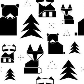 geometric woodland animals