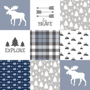 Woodland//Have Courage - Wholecloth Cheater Quilt - Navy