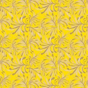 Wild Winter Grassland on Daffodil Yellow - Small Scale