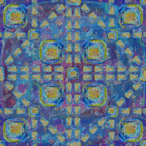 ARTSY FLOWERY PAVEMENT BLUE LARGE