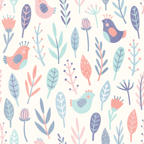 Cute birds and plants fabric by kondratya on Spoonflower - custom fabric