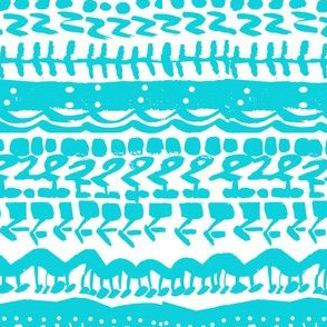 Tribal abstract turquoise white