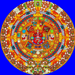 1 Aztec calendar stone mexico mexican tribal sun deities deity myths legends colorful gods goddesses jaguars wind rain water monkeys folk art ancient Tonatiuh sacrificial sacrifices Tlaltecuhtli Tenochtitlan  blue brown yellow