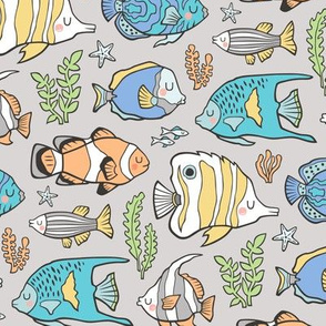 Tropical Fish on Light Grey