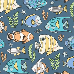 Tropical Fish on Dark Blue Navy