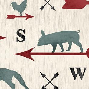 Weathered farmhouse Animal weathervanes - XL