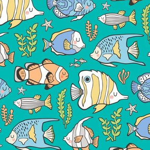 Tropical Fish on Teal Green