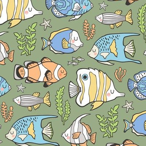 Tropical Fish on Olive Green