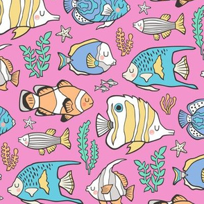 Tropical Fish on Pink