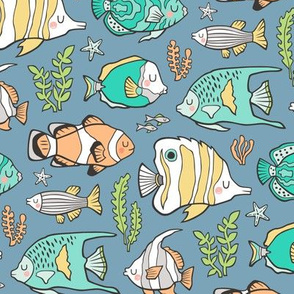 Tropical Fish Mint Green on Blue