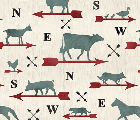 Weathered farmhouse Animal weathervanes - large fabric by rusticcorgi on Spoonflower - custom fabric