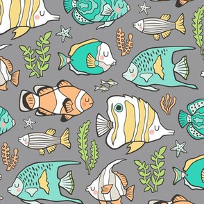 Tropical Fish Mint Green on Grey