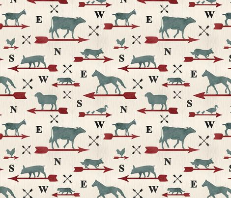 Weathered farmhouse Animal weathervanes - medium fabric by rusticcorgi on Spoonflower - custom fabric