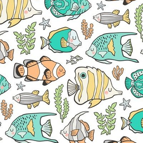 Tropical Fish Mint Green on White