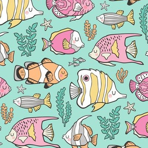 Tropical Fish Pink on Mint Green