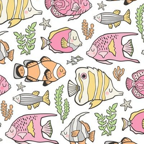 Tropical Fish Pink on White