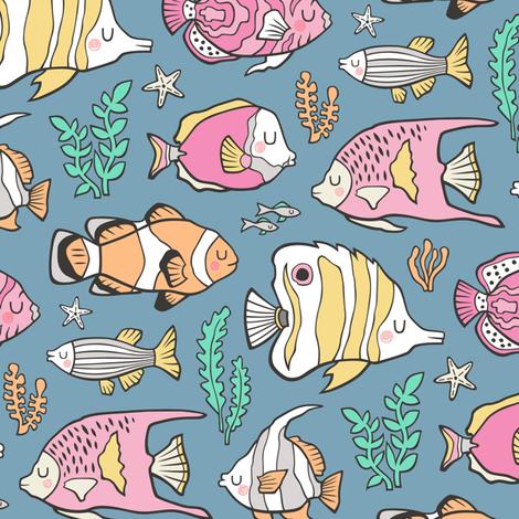 Tropical Fish Pink on Dark Blue fabric by caja_design on Spoonflower - custom fabric