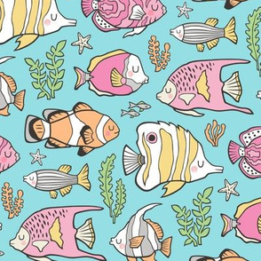 Tropical Fish Pink on Blue