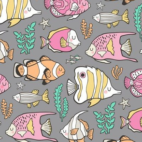 Tropical Fish Pink on Grey