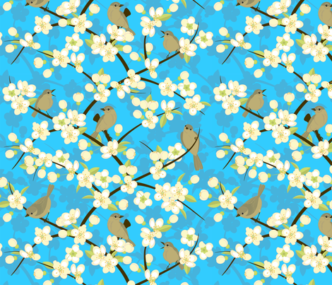 flowers and birds  fabric by minyanna on Spoonflower - custom fabric