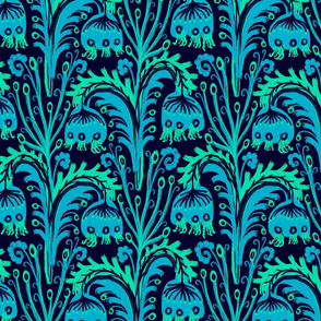 Bluebell Woods Wildflower Meadow , William Morris inspired Complex Bellflower Floral in Turquoise