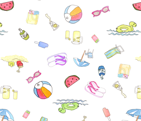 Beach Party large fabric by dreamoutloudart on Spoonflower - custom fabric