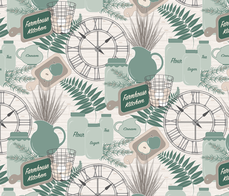 Farmhouse Kitchen (Lg.) fabric by jjtrends on Spoonflower - custom fabric