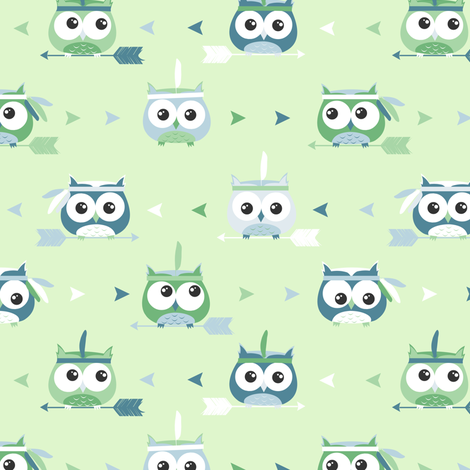 Tribal Boho Owls Green and Blue fabric by jannasalak on Spoonflower - custom fabric