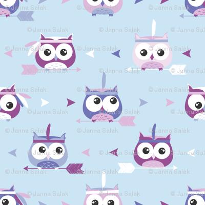 Tribal Boho Owls Blue and Purple