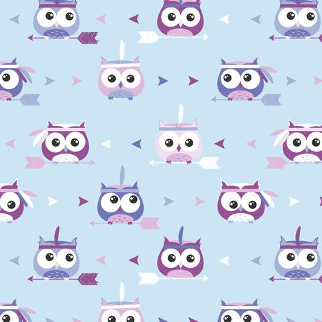 Tribal Boho Owls Blue and Purple fabric by jannasalak on Spoonflower - custom fabric