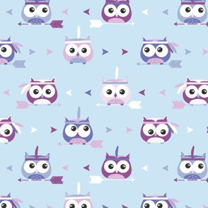 Tribal Boho Owls Blue and Purple