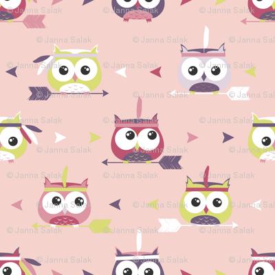 Tribal Boho Owls Pink