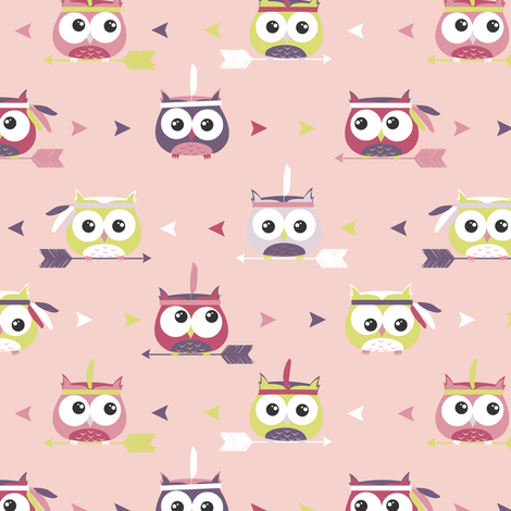 Tribal Boho Owls Pink  fabric by jannasalak on Spoonflower - custom fabric