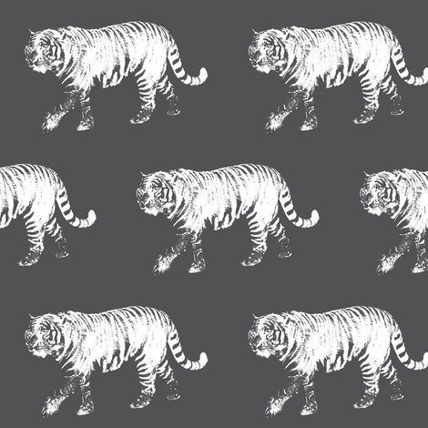 Tiger Prowl on Charcoal // Medium fabric by thinlinetextiles on Spoonflower - custom fabric