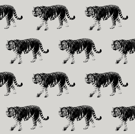 Tiger Prowl // Light Grey // Small fabric by thinlinetextiles on Spoonflower - custom fabric