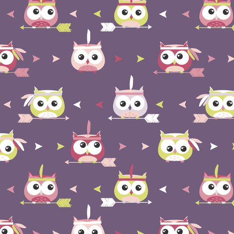 Tribal Boho Owls Purple fabric by jannasalak on Spoonflower - custom fabric