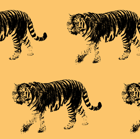 Tiger Prowl // Light Gold // Large fabric by thinlinetextiles on Spoonflower - custom fabric