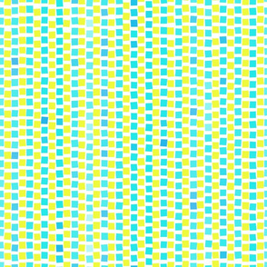 Mosaic Squares Turquoise Lime on White 600