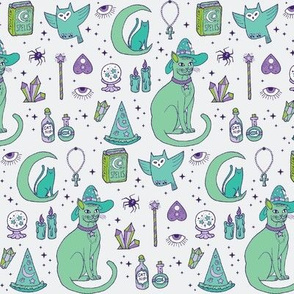 Mystical Cats in Green - small print