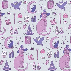 Mystical Cats in Grey - small print
