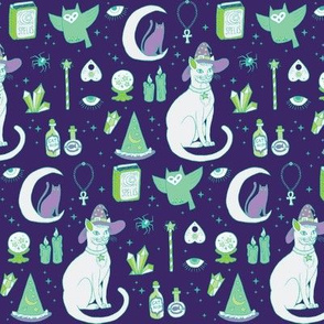 Mystical Cats in Dark - small print