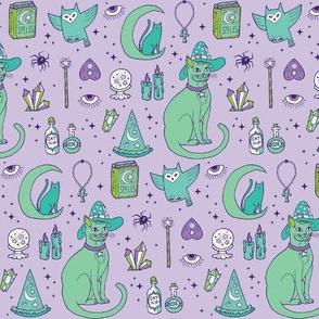 Mystical Cats in Lavender - small print