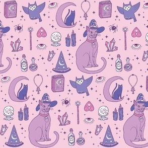 Mystical Cats in Pink - small print