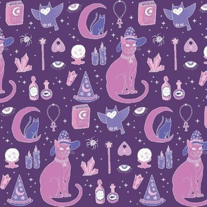 Mystical Cats in Purple - small print