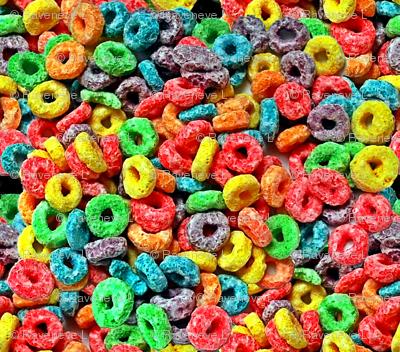 1 fruit flavored breakfast cereal loop rings rainbow colorful food neon green purple blue red yellow seamless pop art