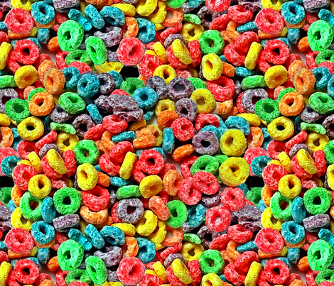 1 fruit flavored breakfast cereal loop rings rainbow colorful food neon green purple blue red yellow seamless pop art  fabric by raveneve on Spoonflower - custom fabric