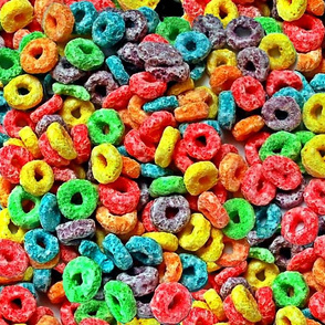 1 fruit flavored breakfast cereal loop rings rainbow colorful food neon green purple blue red yellow seamless pop art
