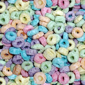 2 pastel fruit flavored breakfast cereal loops rings rainbow colorful food green purple blue red yellow seamless pop art