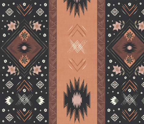 Farmhouse Prairie Kilim Floral Blanket fabric by mabouk on Spoonflower - custom fabric