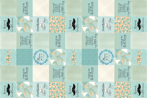 "6"" Mom of Boys Faux Quilt Rotated fabric by lacklandacres on Spoonflower - custom fabric"